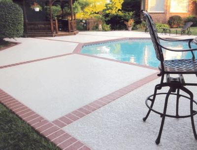 Brick in floor by pool